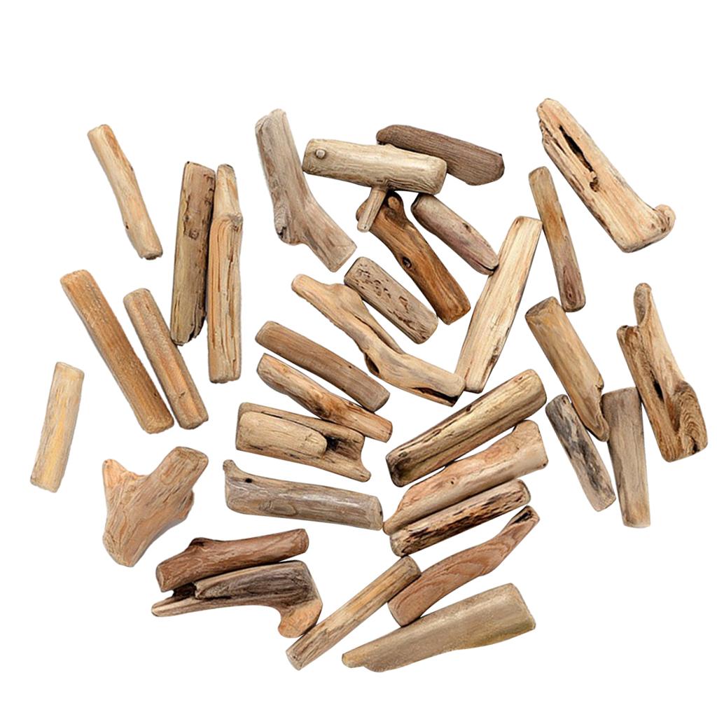 50pcs White Driftwood Wooden Pieces Coastline Wreath Arts Crafts DIY Sticks