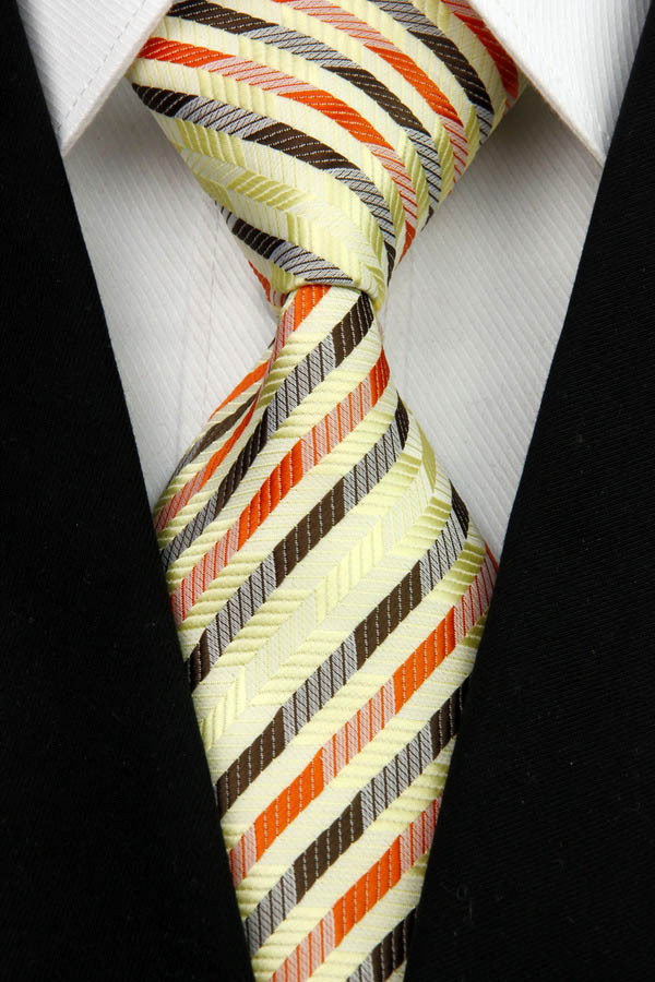 NT0083 Yellow Orange Stripe Multicolor Smooth Jacquard Woven Classic Silk Polyester Man s Business Wedding Tie