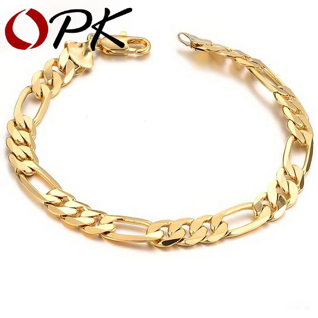 OPK JEWELRY Aliexpress Hot Sell Classic Vintage 18K Real Gold Plated Figaro chain bracelet Attractive Men Jewelry, 157