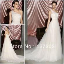 2013 Classcial One Shoulder A-line Tulle Empire Waist Wedding Apparel Wedding Bridal Dress Bridal Costume(China (Mainland))