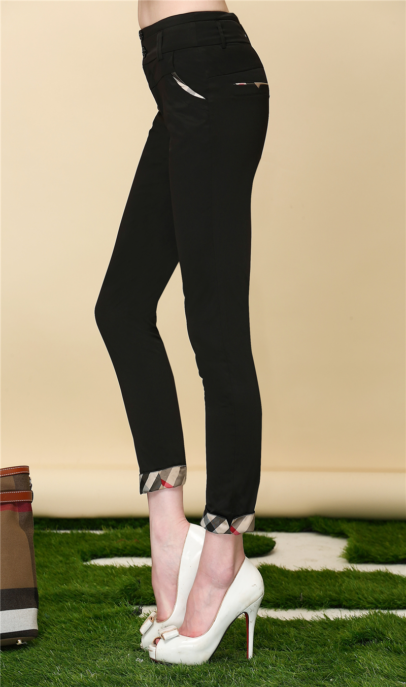 High End Summer Fashion Pencil Pants Women Black Color Skinny Capris Ladies Office Trousers 2015 London New Style Size S-XL(China (Mainland))