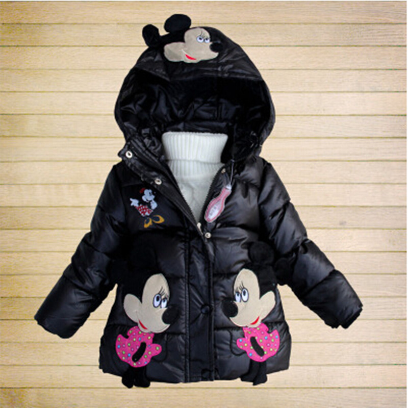 2015 Winter Girls Cartoon Down Clothes Warm Mickey Mouse Kids Thicken Cotton-padded Clothing Children Coat Jacket(China (Mainland))