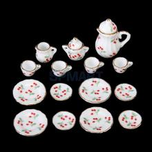 SPMART 15pcs Dollhouse Miniature Dining Ware Porcelain Tea Set Dish Cup Plate -Red Cherry(China (Mainland))