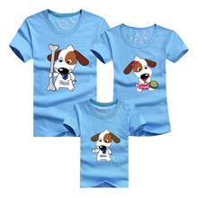 1 pc Dog 95% Cotton Red Blue Family Couple T Shirt Cartoon Women Men Plus Size Kid Summer Short Sleeves Good Quality T-Shirts