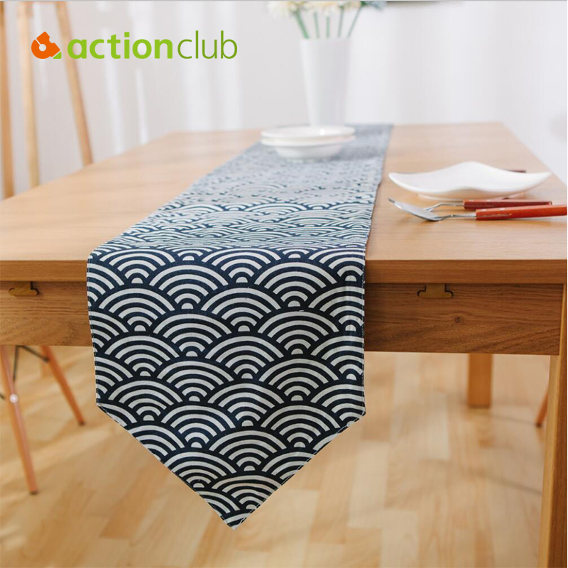 Actionclub Fish Scale Printed Table Runners Linen Cotton Table Runner Cover Southeast Asia Wedding Decoration chemin de table(China (Mainland))