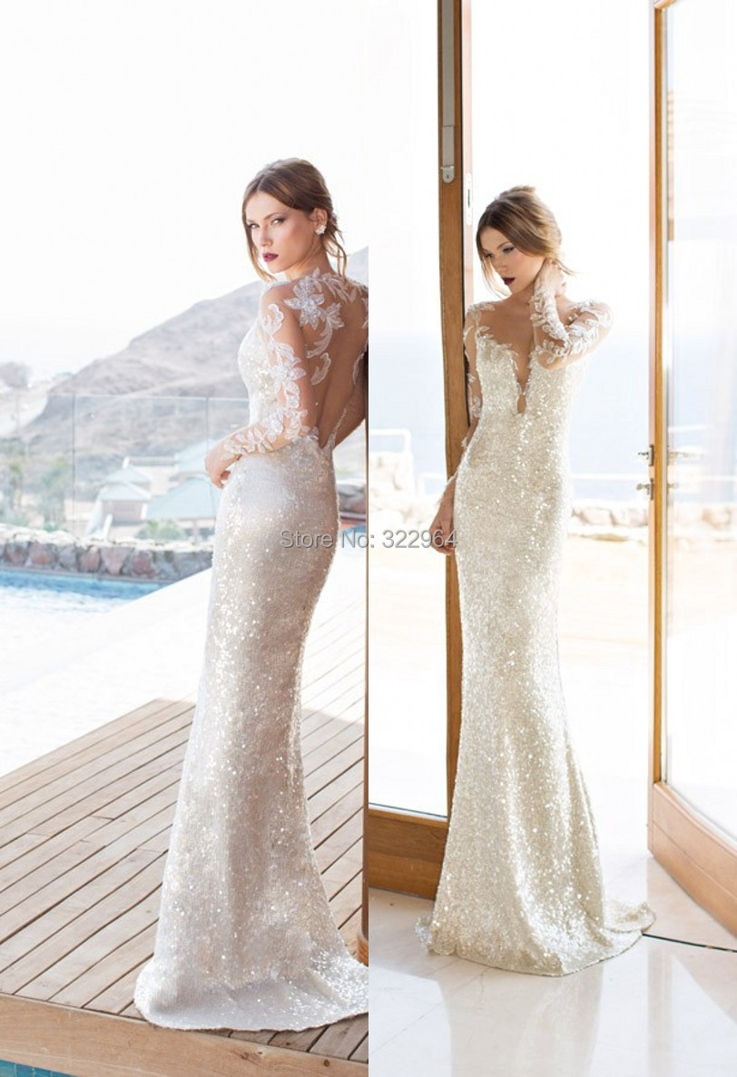 Luxury julie vino wedding dress 2015 high neck sheath for Long sleeve dresses to wear to a wedding