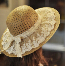 Lace Summer Sun Hats for Women New Fashion Sombrero Wide Brim Floppy Female Straw Hat(China (Mainland))