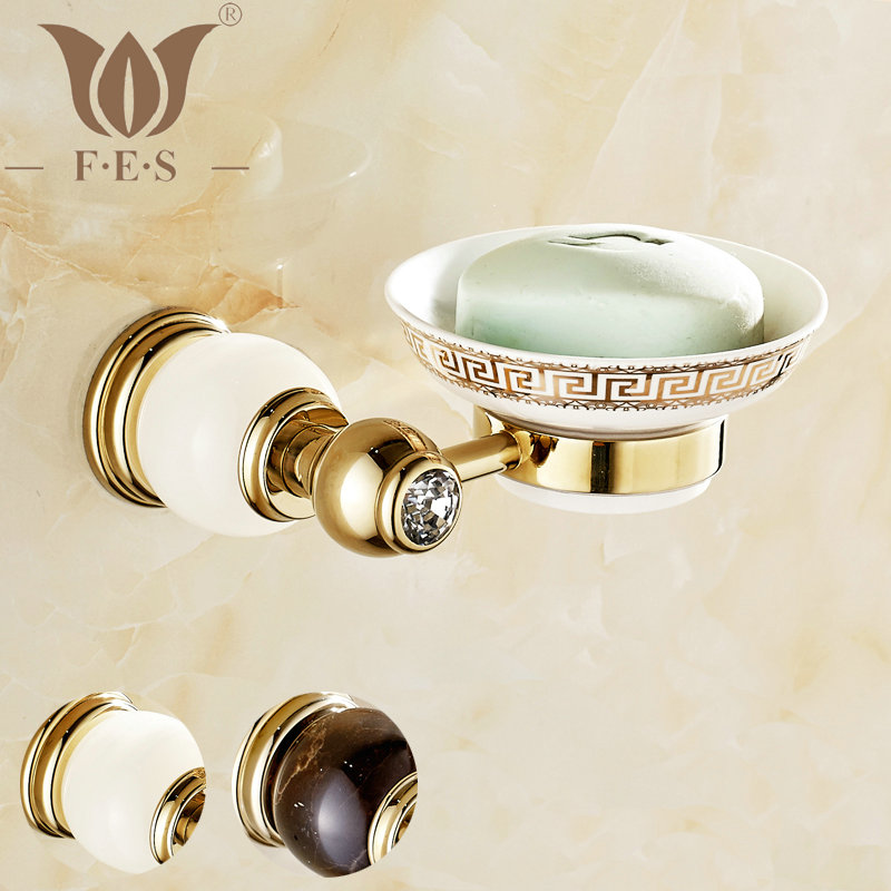 GJade Series Golden Polished Brass With Jade/Marble Soap Dish Holder Soap Network Bathroom Accessories Dishesdisk Toilet Vanity(China (Mainland))