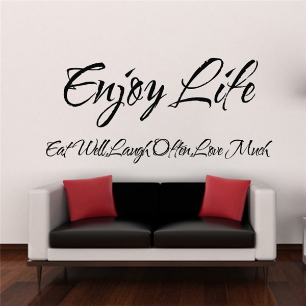 Enjoy life inspirational vinyl quote home decor blackboard for Home decor quotes on wall