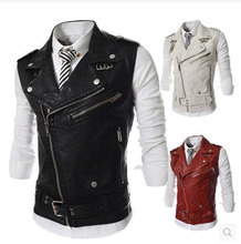 2015 New Fashion PU Leather Sleeveless Jacket Men'S Slim Fit  Leather Motorcycle Vest Punk Style Three Colors Free Shipping Q431(China (Mainland))