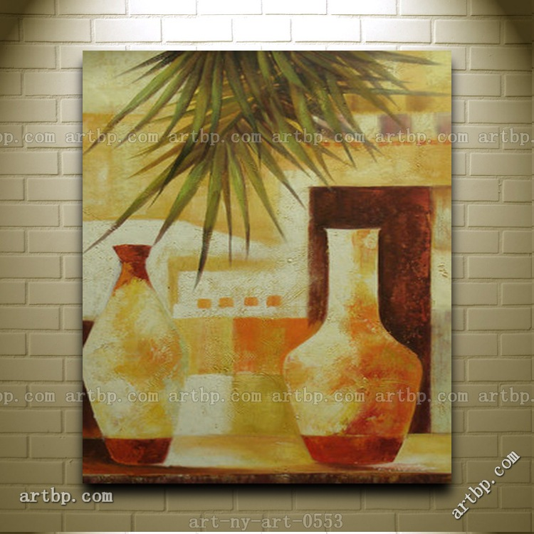 Contemporary Oil Painting Of Still Life Vases On Table With Palm Leafs Colorful Paintings Wall Art Wall Decor Stickers Modern(China (Mainland))