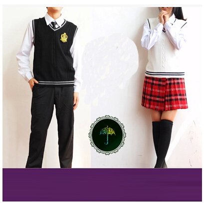 British korean japanese school uniform men and women clothing for school uniforme escolar costume Sweater vest 5 sets(China (Mainland))