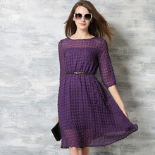 New 2016 Spring And Summer Fashion Half Sleeve Knee Length Women Chiffon Casual Dress High Quality Purple Party Dresses H008(China (Mainland))