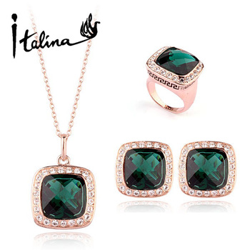 Italina Rigant 2014 New Arrival Elegant Emerald Jewelry Set With Austrian Crystal Stellux #RG30377