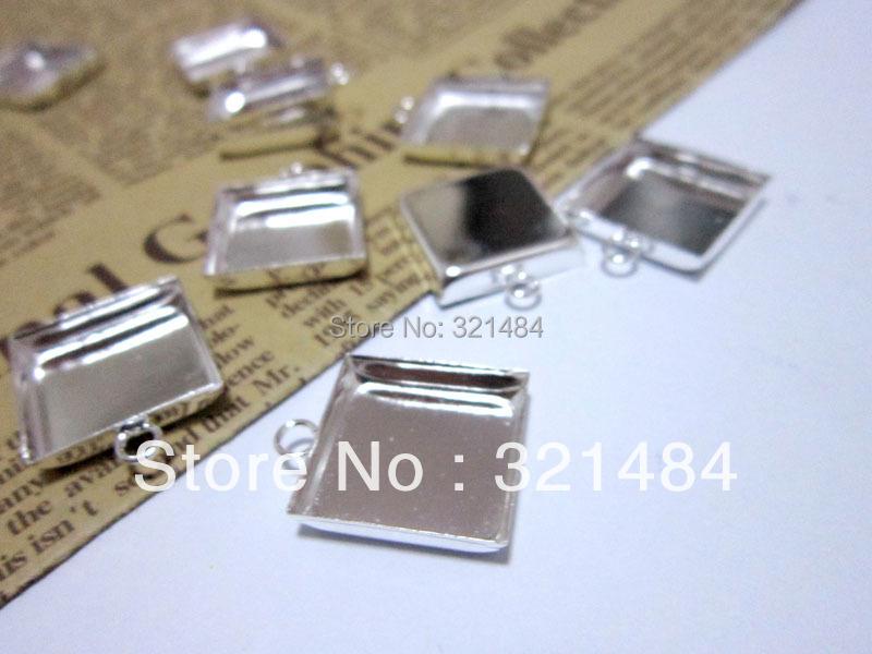 Silver Plated 16mm Cabochon Setting Square Pendant Tray, Bezel Pendant Blank w/ Loop,Pendant Base