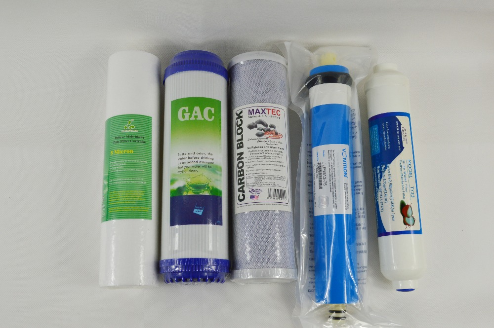 5 stage RO replacement filter kit  10 PP+GAC+CTO+ RO membrane+ T33 Filter<br><br>Aliexpress