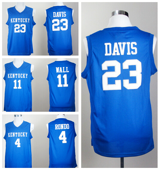 Cheap 4 Rajon Rondo College Jersey Kentucky Wildcats 11 John Wall 23 Anthony Davis Basketball Jerseys Shirt Blue Factory Price(China (Mainland))