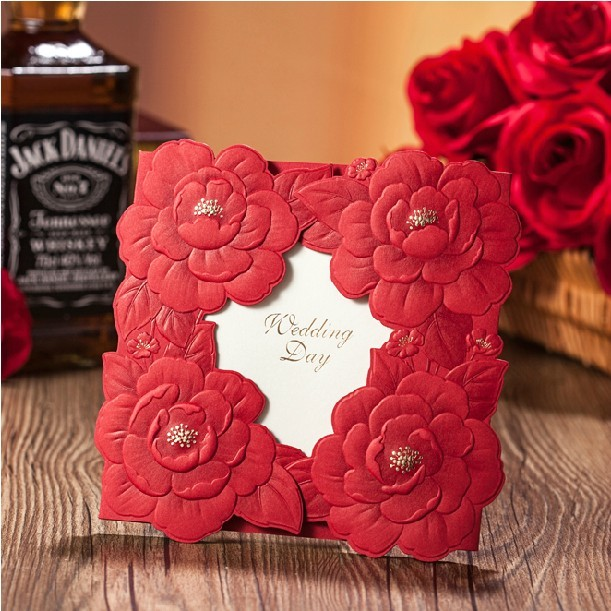 New Custom Printing Wedding Invitation Card Red Big Embossed Flower Personalized Print Invitation Card(China (Mainland))