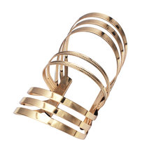 MANILAI Alloy Hollow out Stripe Big Bracelet For Women Statement Femme Metal Cuff Bangle Accessories Jewelry(China)