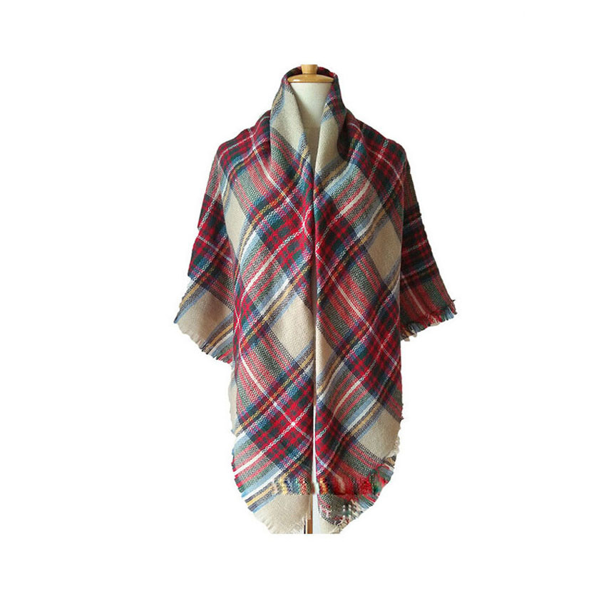 Brand Hot Sale Luxury Female Scarf Checkered  Winter Wool Blend Shawl Girl Thicken Soft Scarves  Fashion Square Shawl IBLZ4
