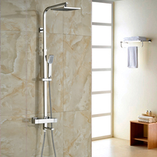 """Buy Dual Handles Thermostatic Mixer Valve Shower Faucet Set Wall Mount 8"""" Rainfall Shower Head Tub Shower System for $108.00 in AliExpress store"""