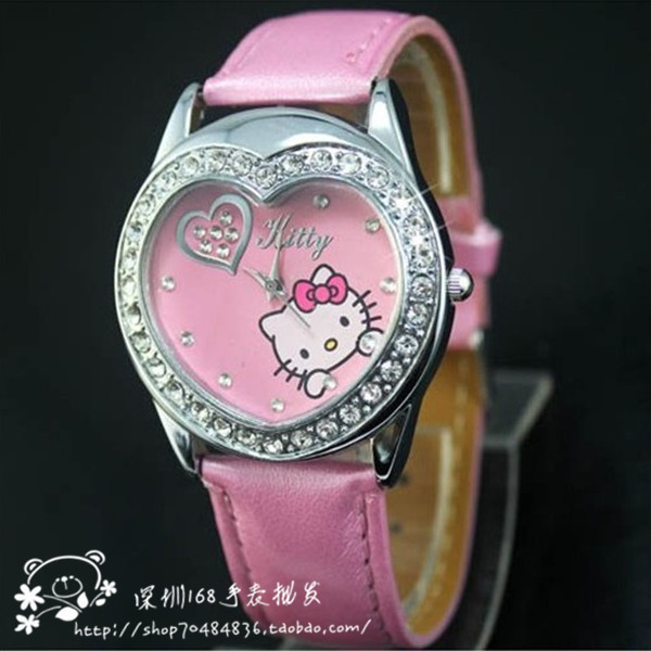Christmas Gift Wholesale 40pcs/lot Hello Kitty watch Crystal Heart Leather Watch,Child Watch KT wristwatch<br>