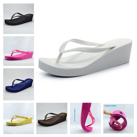 2013 Fashion platform flip flops shoes Women wedges sandals high heel beach slippers wear-resistant slip-resistant(China (Mainland))