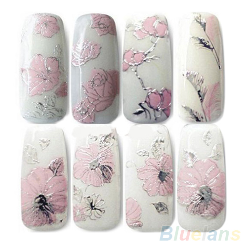 Гаджет  3D Nail Stickers Embossed Pink Flowers Design Nail Art Decal Tips Stickers Sheet Manicure  1ORG None Красота и здоровье