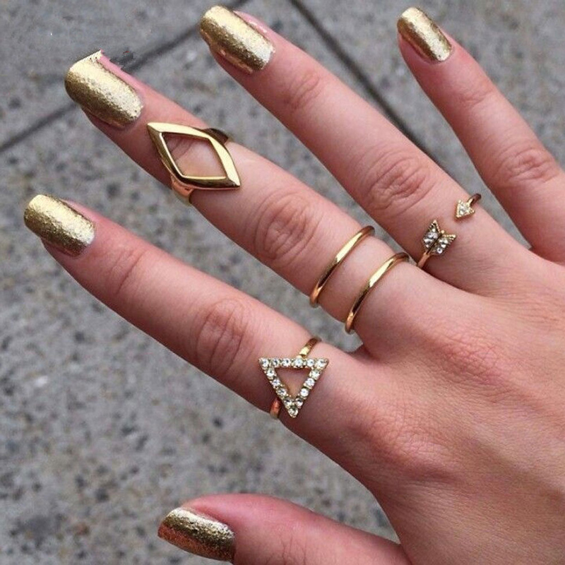 5pcs crystal women knuckle rings female stacking punk ring geometry triangle midi finger tip set charm