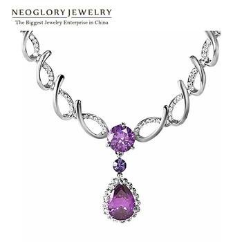 Neoglory Rhinestone Zircon Fashion Charm Chain Bib Necklaces & Pendants Engagement Jewelry Romantic Brand Gifts 2015 New Pur1