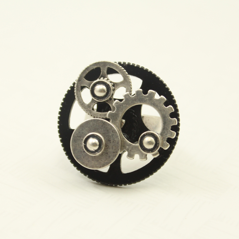 Fashion accessories gear ring female male finger ring vintage steampunk 17mm rings for women(China (Mainland))