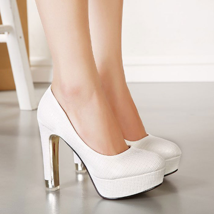 2016 Spring Women Platform Shoes High Heels Fashion Sexy Black White Wedding Shoes Female Shoes Channel Pumps Zapatos Tacon 2A(China (Mainland))