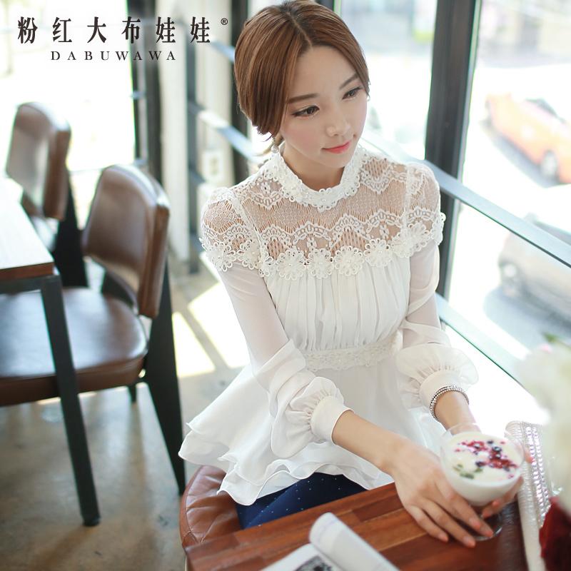 White shirt female Pink Doll fall 2015 Couture Lace Chiffon shirt slim long sleeved shirt woman