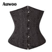 Sexy Gothic Lingerie Bustiers Black Satin Embroidered Corset Underbust Corsets Plus Size Corpete Espartilho