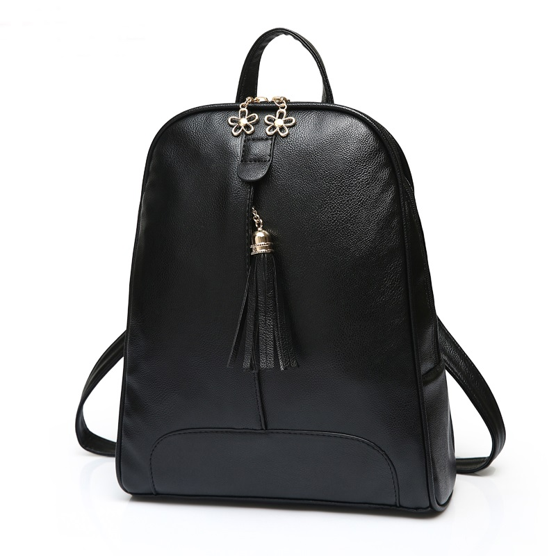 Women Leather Backpacks Preppy Style Tassel School Bags For Teenagers Fresh Daily Backpacks For Girls 2015 New Mochila Bolsos(China (Mainland))