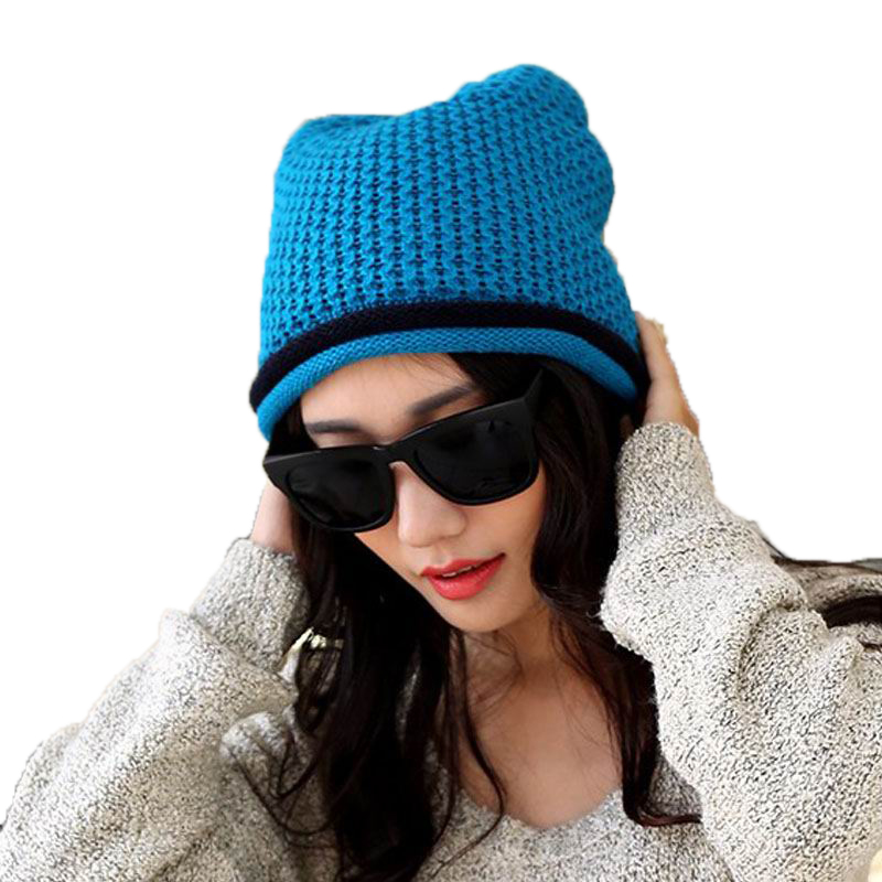 2016 Spring Thick Wool Beanies Fashion Outdoor Keep Warm Winter Knitting Woolen Female Caps Thermal Cap Casual Warmth Hat(China (Mainland))