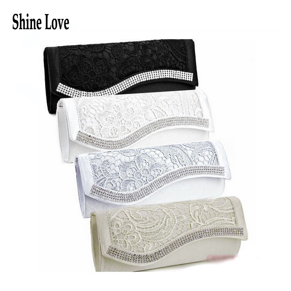 New Fashion Floral Lace Satin Crystal Diamantes Evening Clutch Wedding Bridesmaid Bag Elegant Party Prom box Day cluthes.S30AE(China (Mainland))