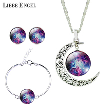 2015 New Silver Color Jewelry Purple Mystic Galaxy Pendant Necklace Stud Earrings Bracelets Jewelry Sets for Christmas Gift(China (Mainland))