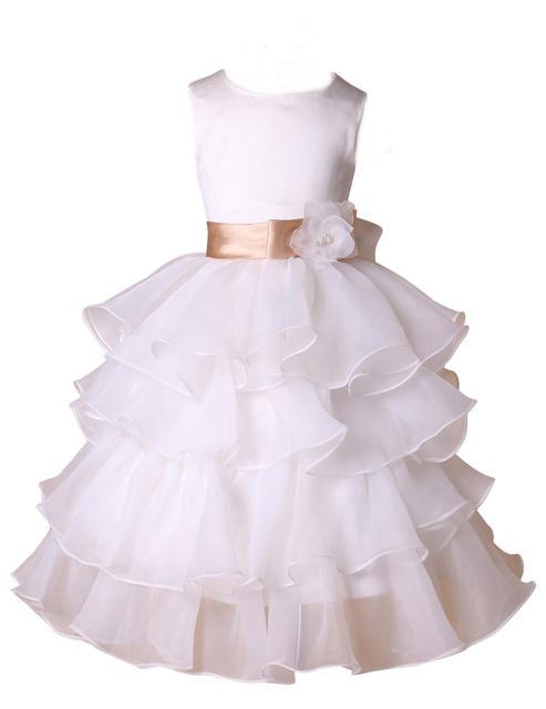 2016 новое поступление органзы детские платья для свадьбы девушек белый театрализованное ...