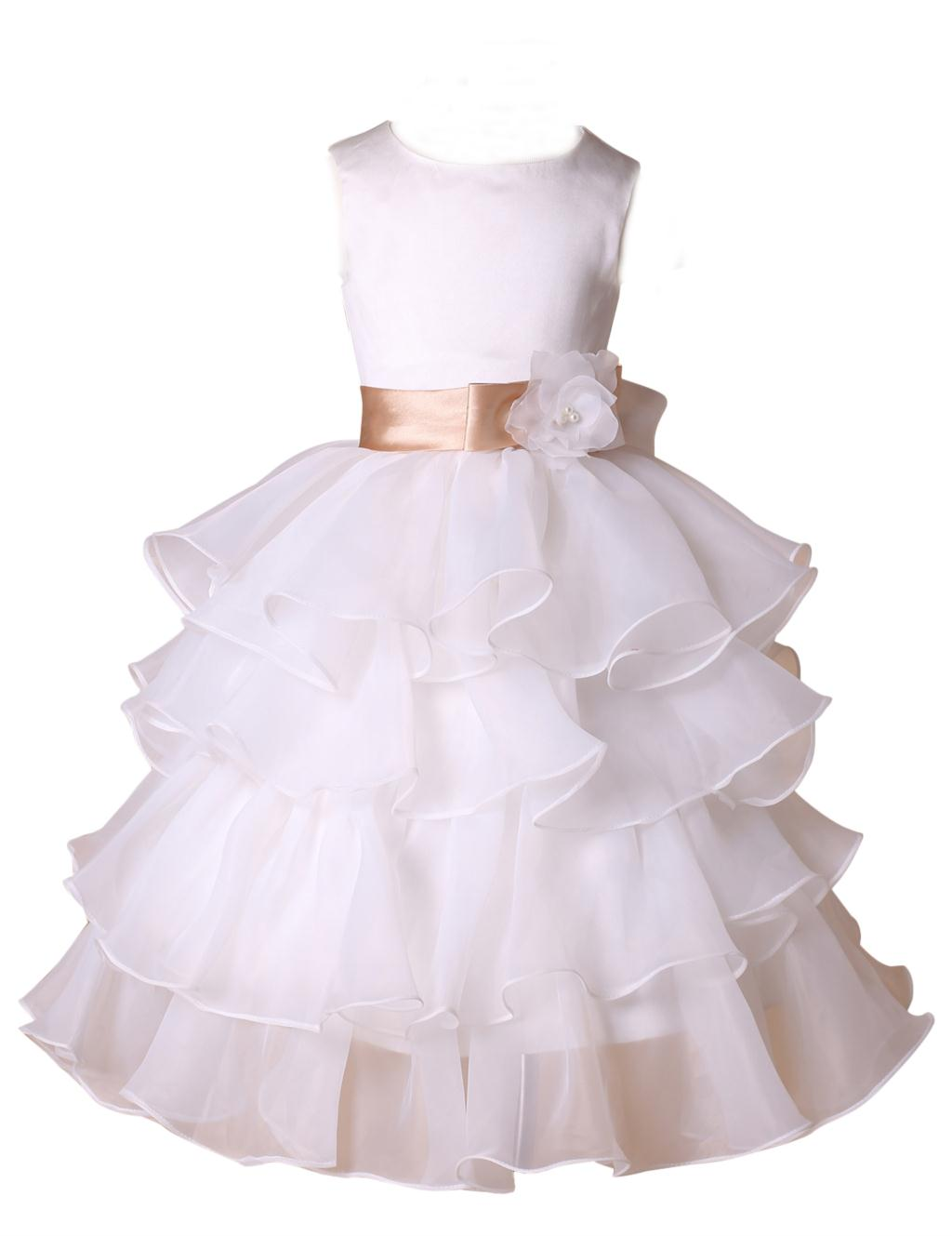 2016 New Arrival Organza Flower Girl Dresses For Weddings Girls White Pageant