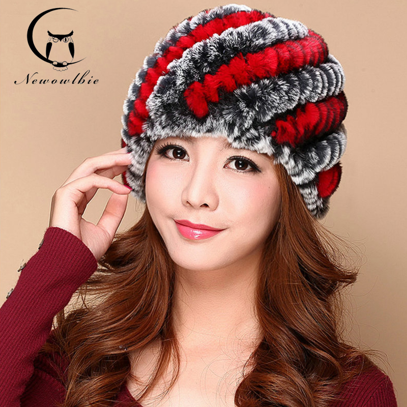 Hot Real Rex Rabbit fur hat for women winter knitted Rex Rabbit fur beanies cap brand new thick female cap Outdoor Sports Caps(China (Mainland))
