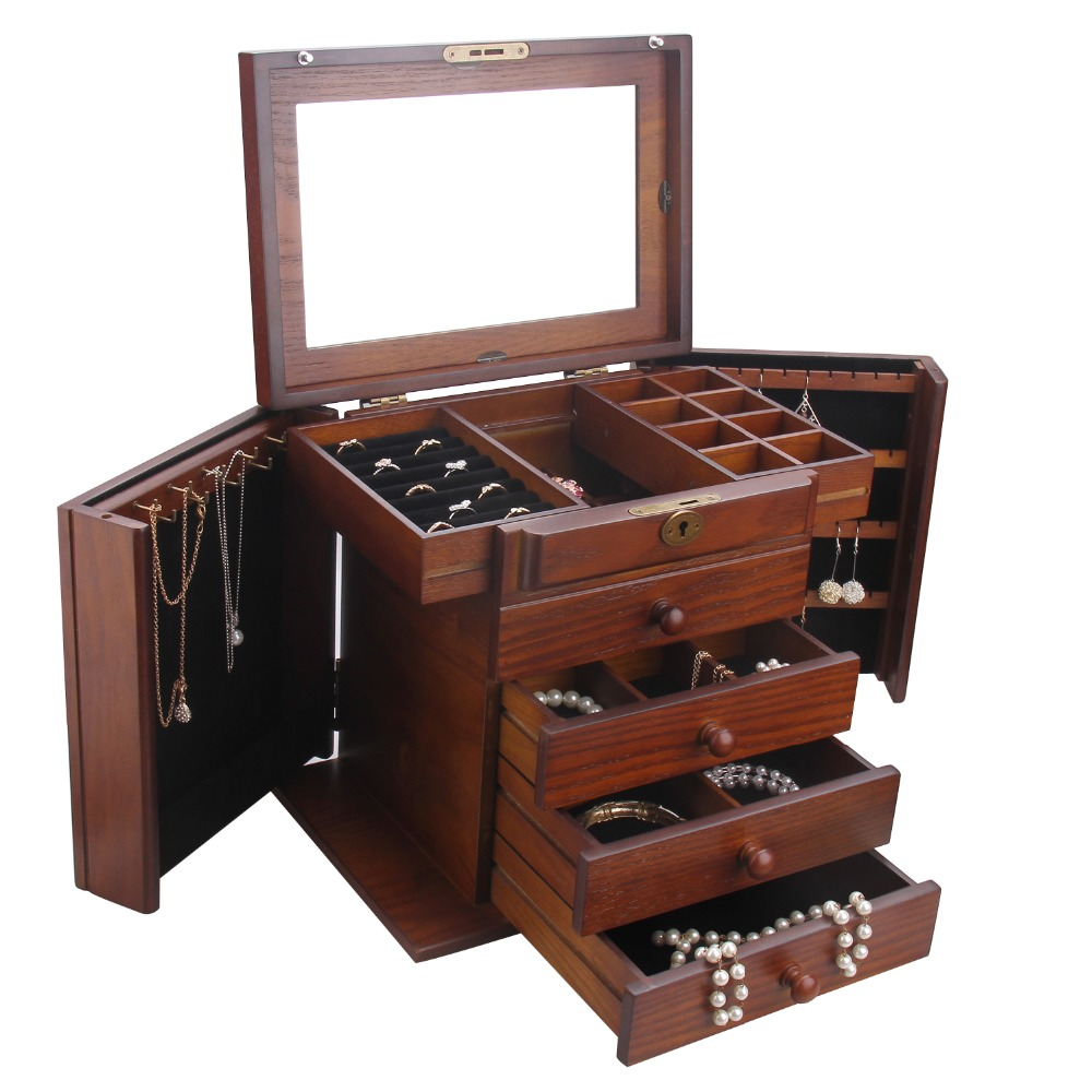 [Rowling] Wooden Jewelry Box Cabinet Armoire Ring Necklacel Gift Storage Box Organizer MG002-1(China (Mainland))