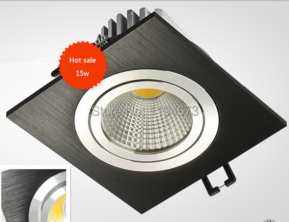 Free shipping 15w Dimmable COB recessed led ceiling down light Aluminum materail 85-265v spot led square ceiling lighting(China (Mainland))