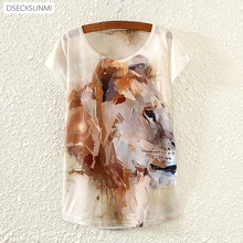 2016 Brand New Polyester T-Shirt Women Short Sleeve t-shirts o-neck Causal loose Painting lion t shirt Summer tops for women