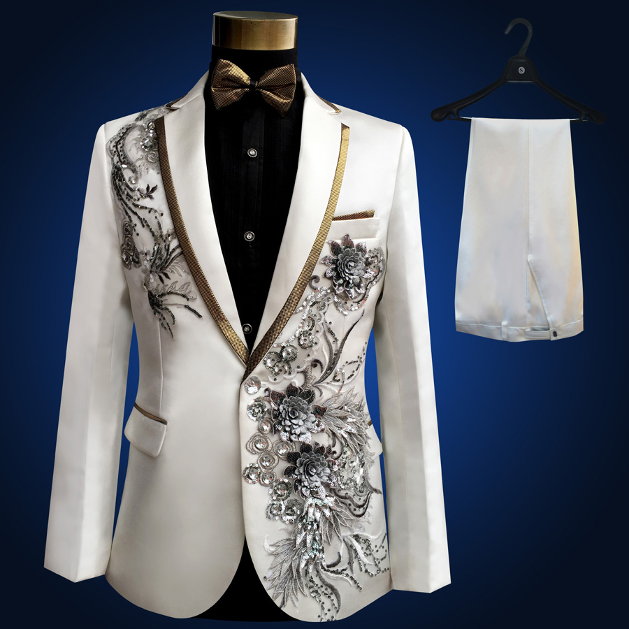 New Wedding Dresses Male : Pieces set wedding suits for men new singer white