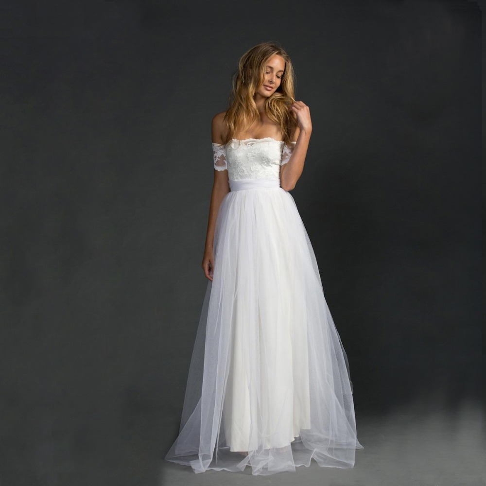 2015 new fashionable white elegant tulle beach wedding Inexpensive beach wedding dresses