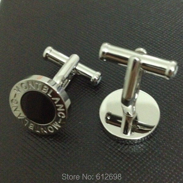 Newest Round Shape Titanium Steel Cufflinks In Silver With Black Agate For Men(China (Mainland))