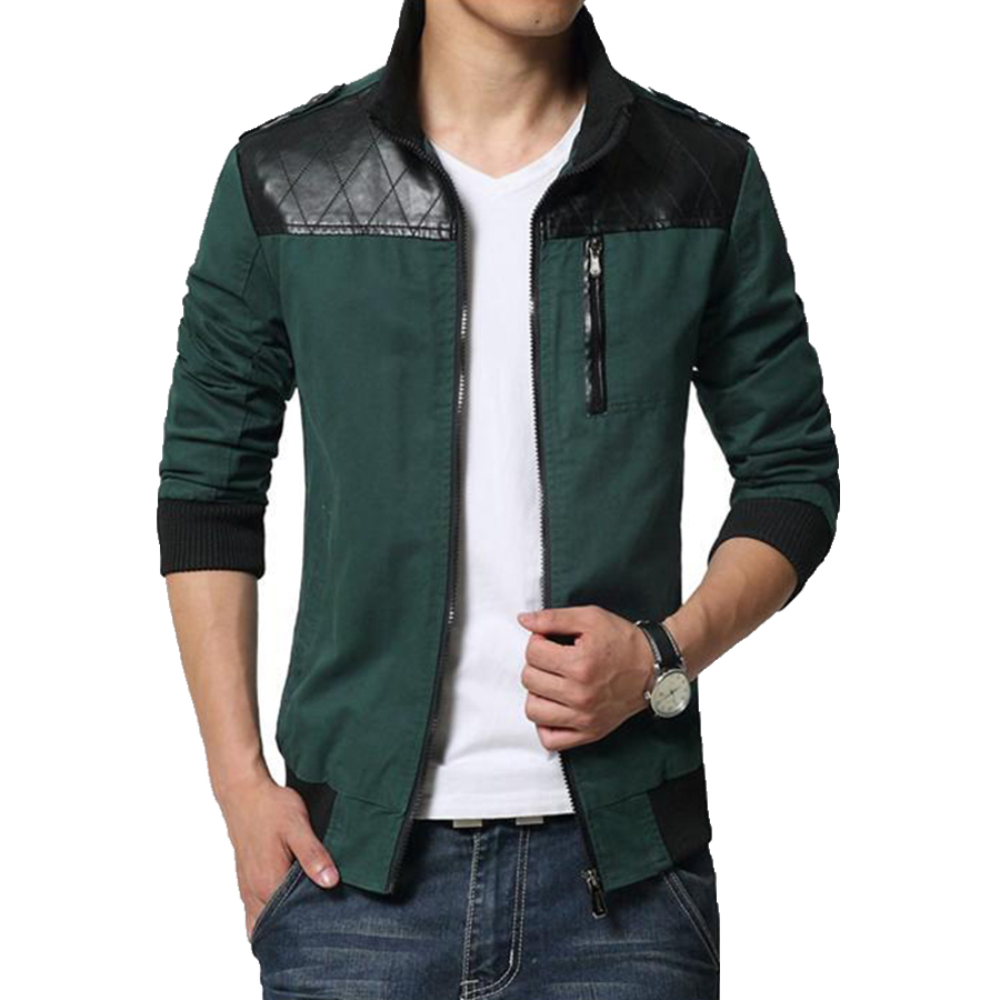 2016 new fashion brand jacket men trend patchwork pu Designer clothing for men online sales