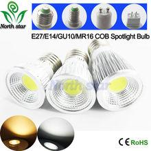 Super Bright E27/E14/GU10/MR16 Bulbs Light 110V/220V/12V Dimmable Led Warm/Cool White 85-265V 9W/12w/15w COB LED Spotlight(China (Mainland))