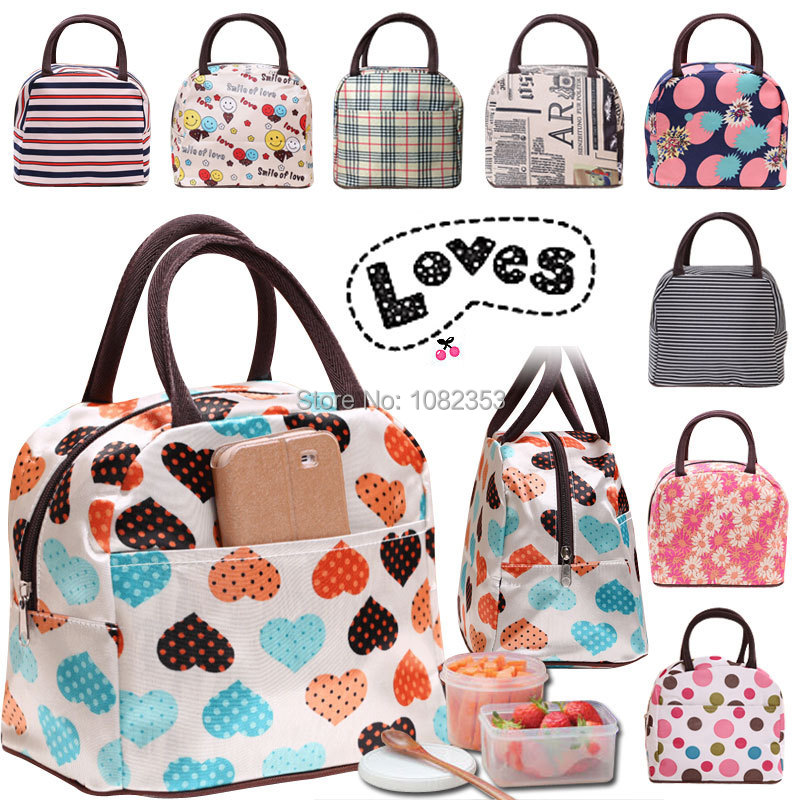 canvas waterproof lunch bag family picnic bag hearts strip flag box dots flower cartoon design lady hand bag storage food bag(China (Mainland))